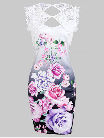 Lace Panel Flower Mini Fitted Dress