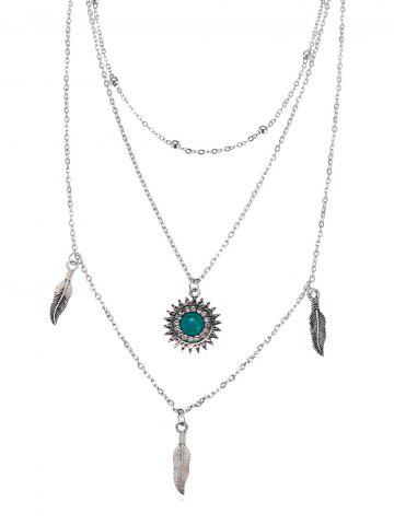 Sun Feather Shape Layered Necklace