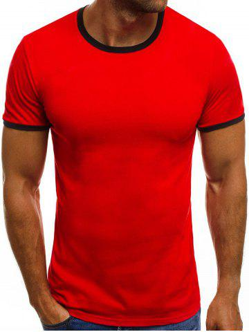 Color Block Hem Short Sleeves T-shirt