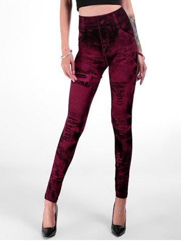80c0441e1 Pattern Type  Print Elasticity  Elastic. High Rise Fitted Jeggings - HOT  PINK