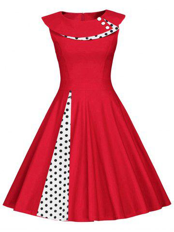 Vintage Polka Dot Button Embellished Dress