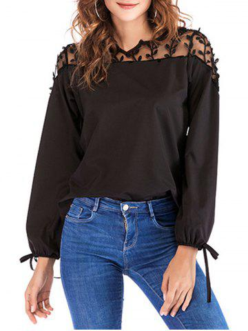 Mesh Insert Leaf Embroidered Blouse