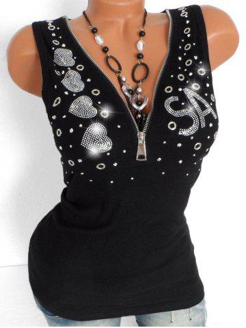 Rhinestone Embellished Plus Size Half Zip Tank Top