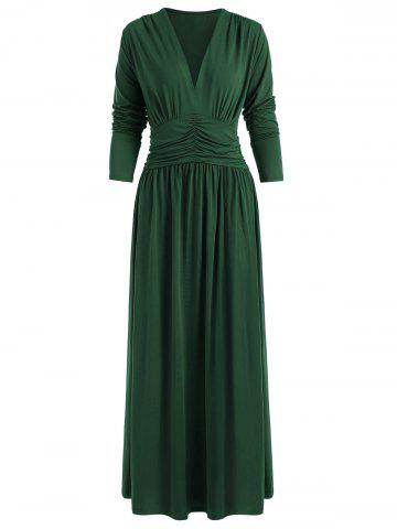 Ruched Long Sleeves Plain Maxi Dress