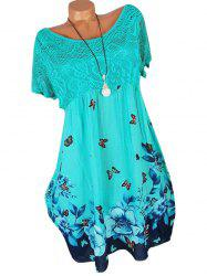 Lace Panel Butterfly Print Plus Size Shift Dress -
