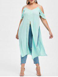 Rosegal Lace Trim Slit Plus Size Cold Shoulder Tunic -