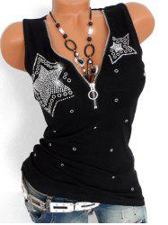 Star Rhinestone Embellished Plus Size Half Zip Tank Top -