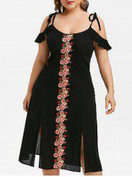 Plus Size Flower Embroidered Cami Sit Dress -