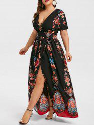 Plus Size High Waist Maxi Slit Dress -