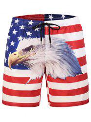 Eagle Printed Drawstring Board Shorts -