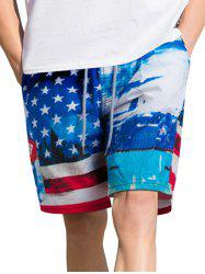 American Flag Print Casual Board Shorts -