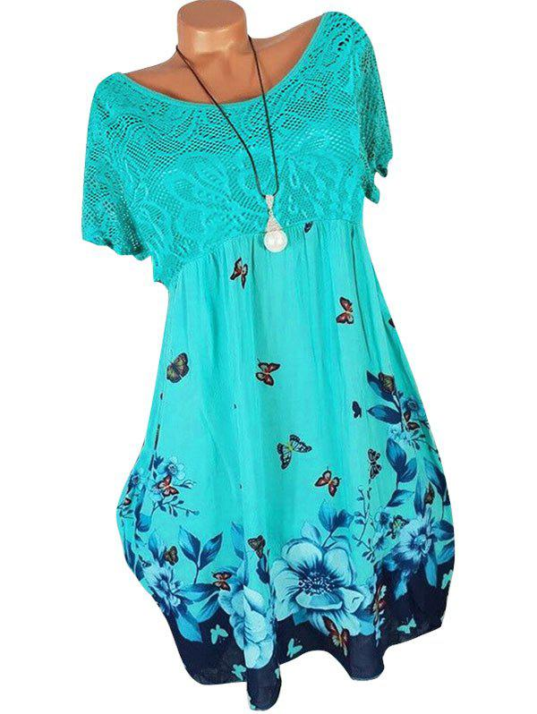 Chic Lace Panel Butterfly Print Plus Size Shift Dress