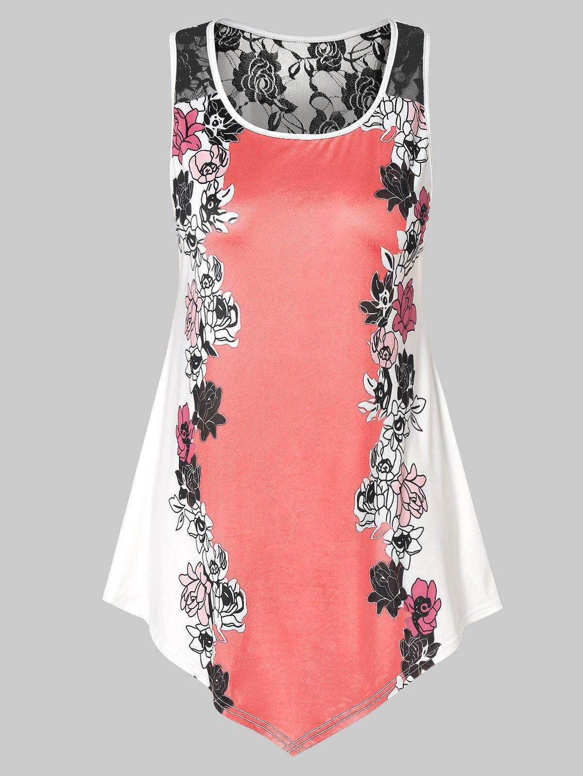 Chic Plus Size Floral Tank Top with Lace