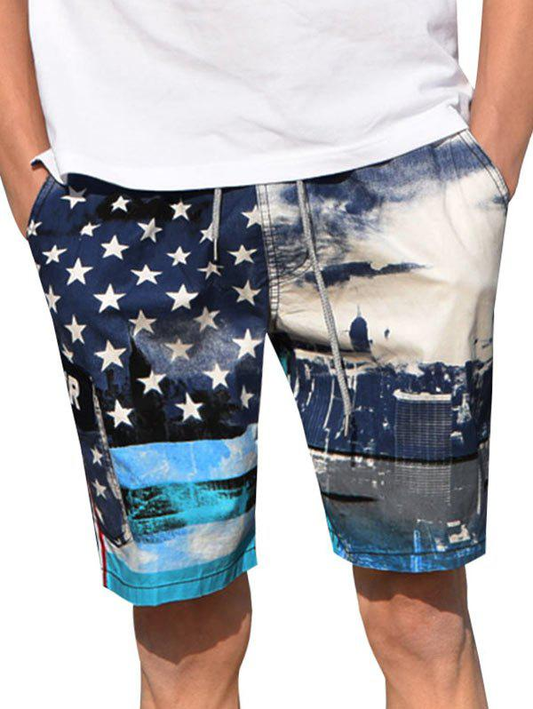 Trendy American Flag Print Casual Board Shorts