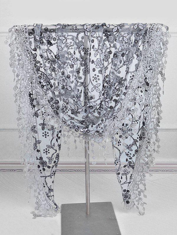 Chic Lace Flower Fringe Triangle Scarf