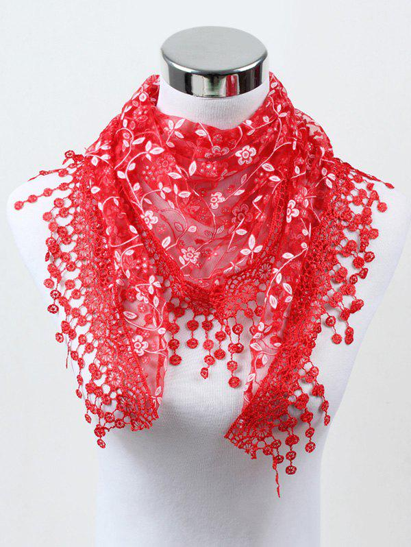 Outfit Lace Flower Fringe Triangle Scarf