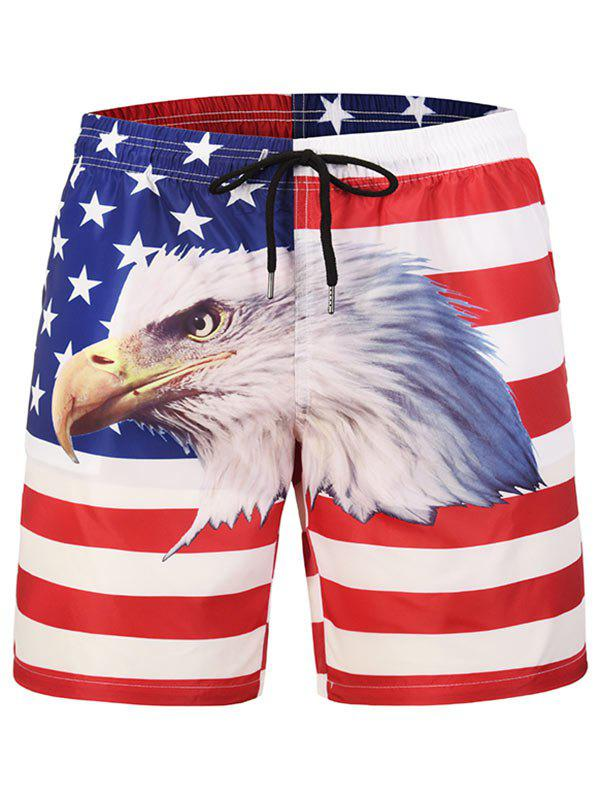 Trendy Eagle Printed Drawstring Board Shorts
