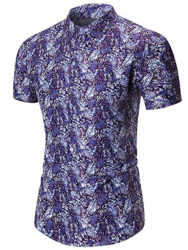Plant Leaves Allover Print Short Sleeves Shirt
