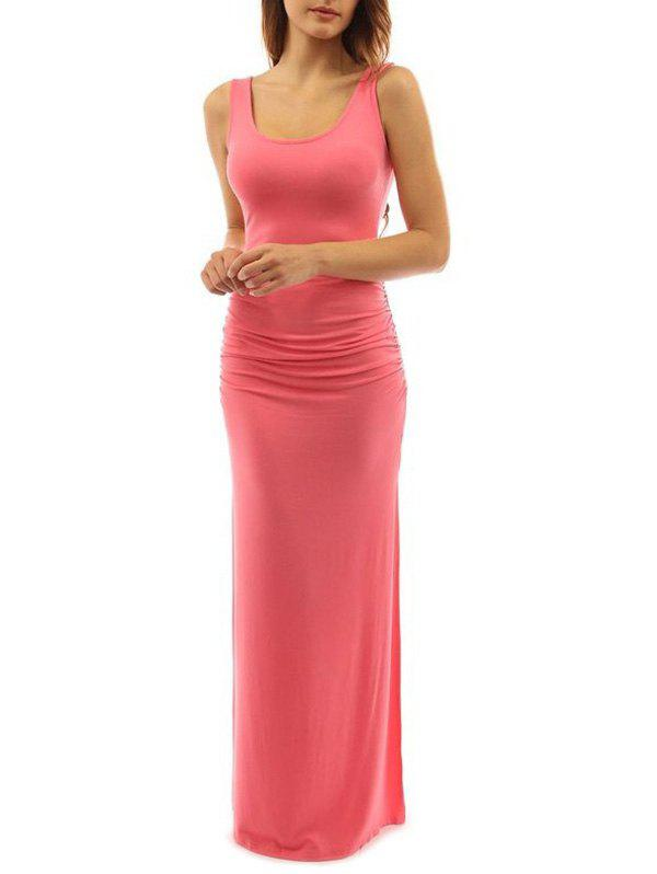 Store Maxi Ruched Slit Bodycon Dress