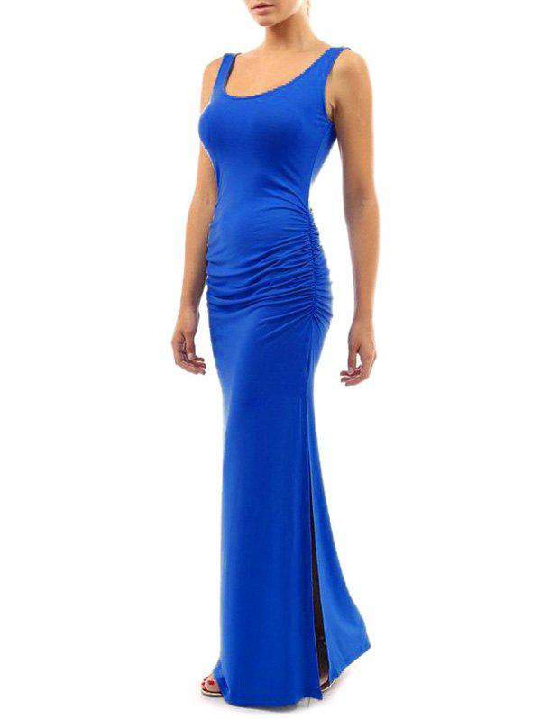 Fancy Maxi Ruched Slit Bodycon Dress