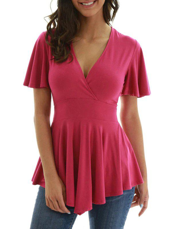 Affordable Plain Knotted Surplice Longline Tee