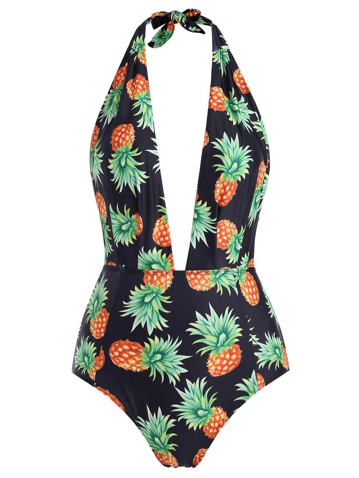 d4a90d6e40372 2019 Pineapple Print One-piece Swimsuit