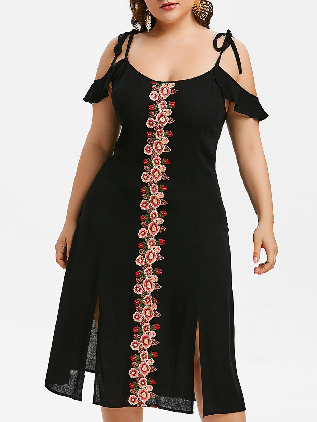 Discount Plus Size Flower Embroidered Cami Sit Dress