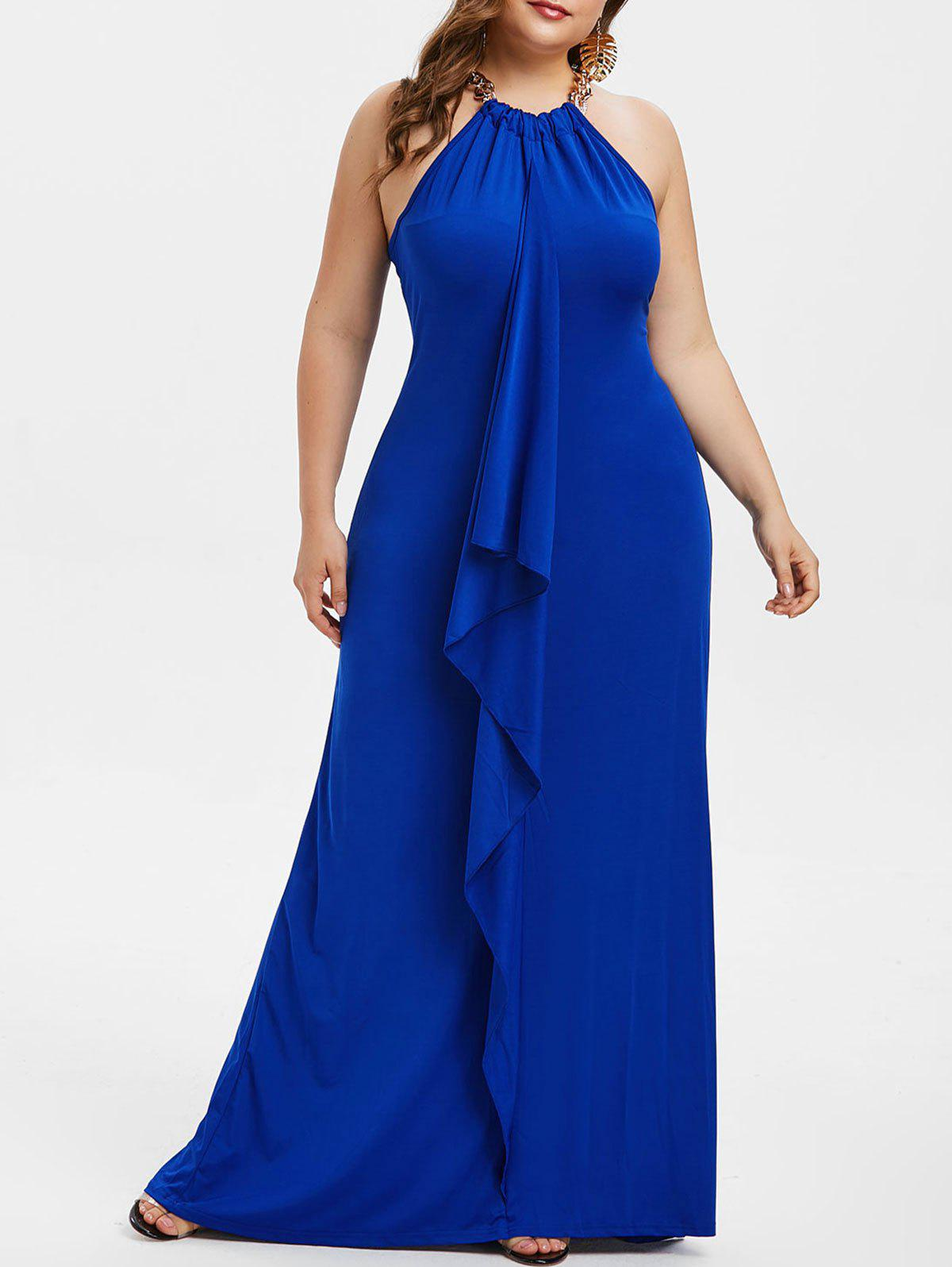 71ca9df5a7a 2019 Plus Size Ruffled Cocktail Party Maxi Dress