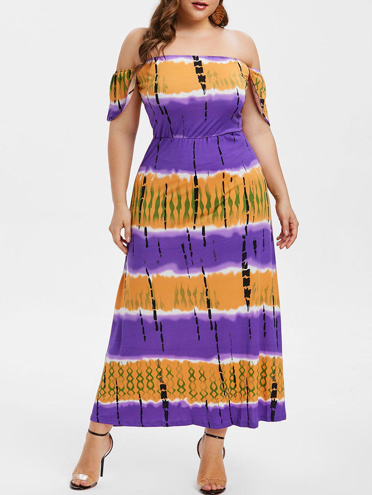 3868c9a8be5 2019 Plus Size OFF Shoulder Tie Dye Maxi Dress