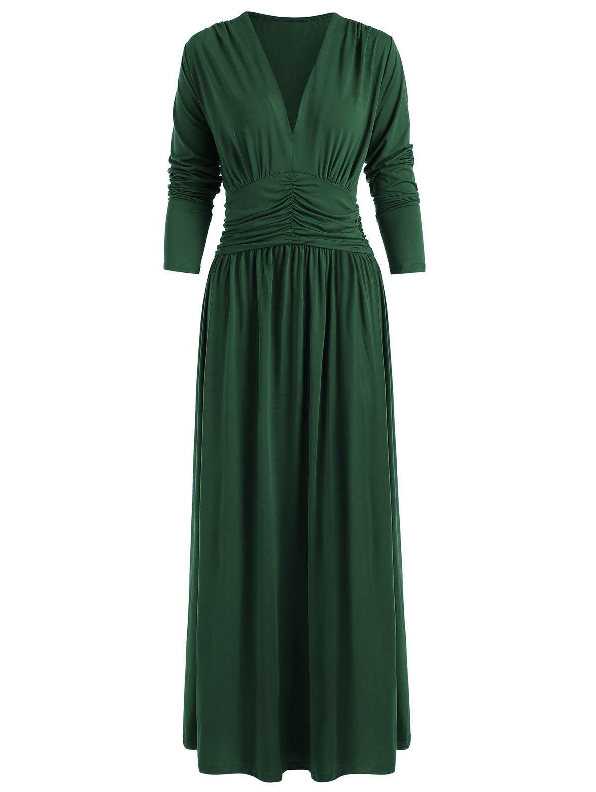 Trendy Ruched Long Sleeves Plain Maxi Dress