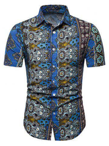 Floral Ethnic Design Linen Short Sleeve Shirts