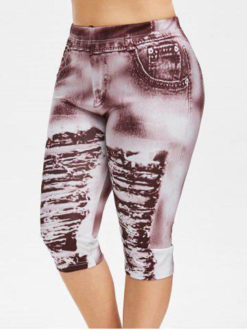 rosegal Plus Size 3D Ripped Jean Print Capri Legging