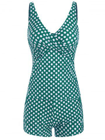V Neck Polka Dot Tankini and Boyshort