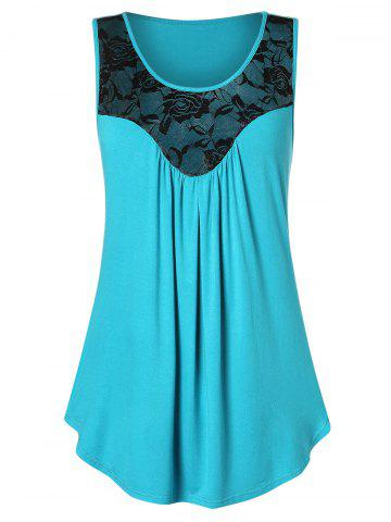 Floral Lace Two Tone Tank Top