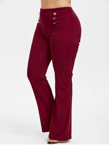 Button Embellished Plus Size Bootcut Pants