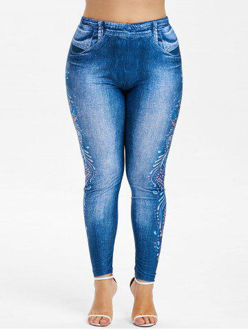 Plus Size Peacock Print High Waisted Jeggings MULTI