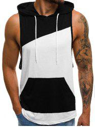 Color Spliced Hooded Tank Top -