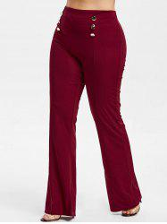 Button Embellished Plus Size Bootcut Pants -