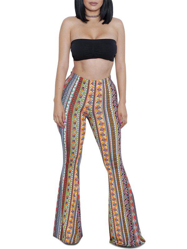 Latest Plain Bandeau Top and Printed Bootcut Pants