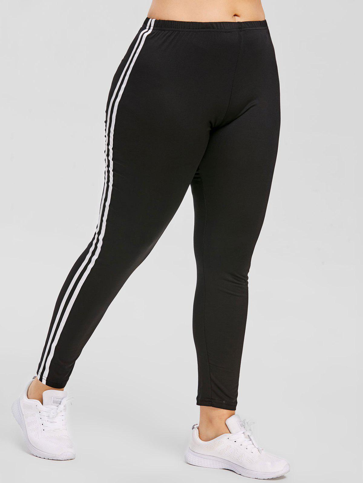 4839d859f4c39 45% OFF] Side Striped Insert Plus Size Elastic Waist Leggings | Rosegal