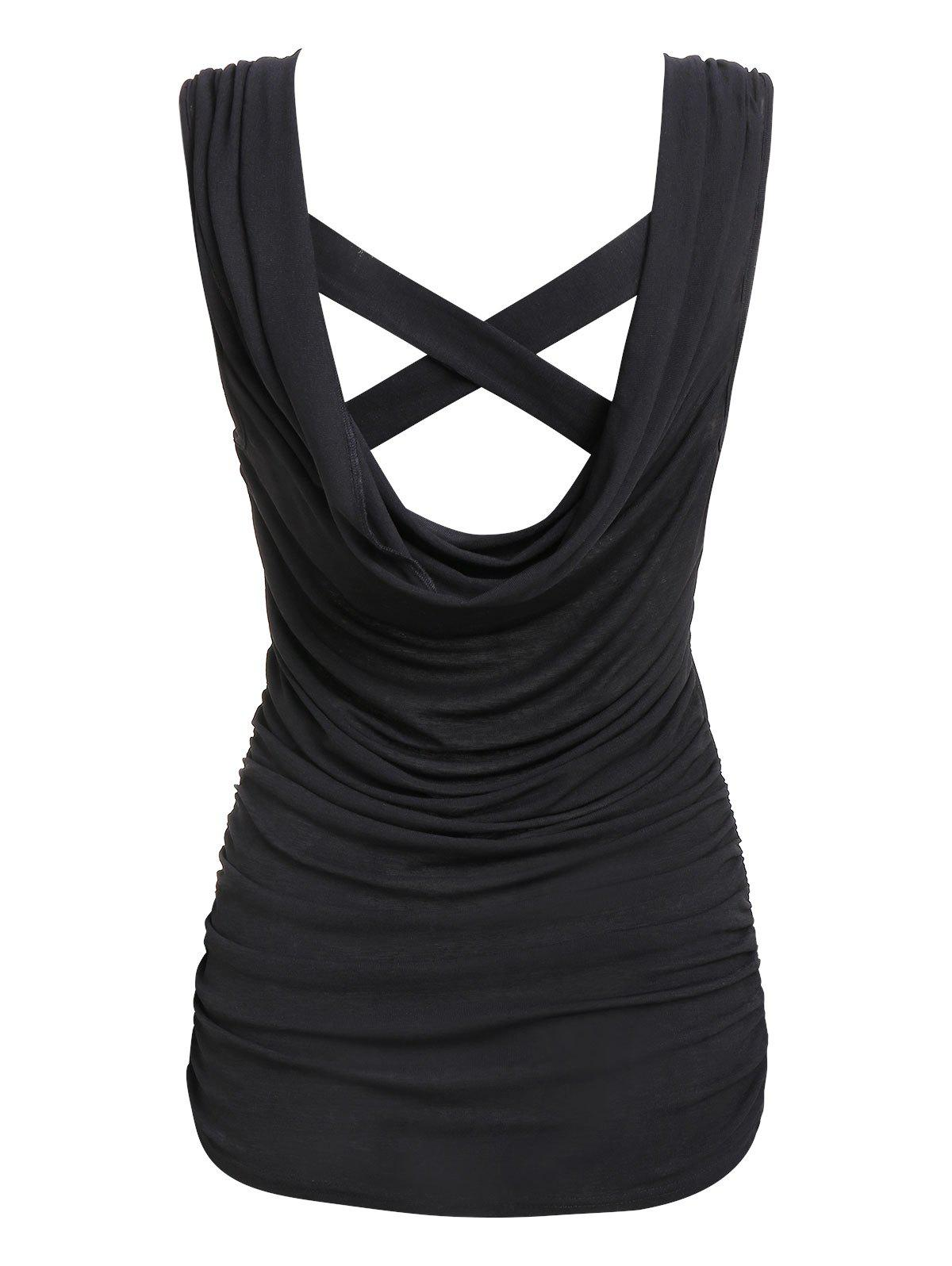 Ruched Cross Back Draped Tank Top