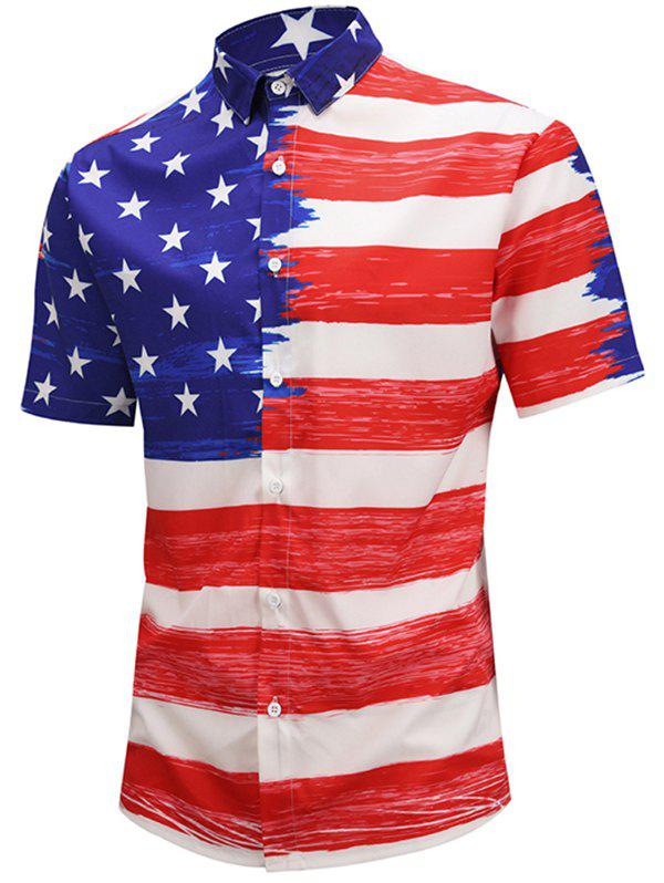 Buy American Flag Design Short Sleeves Shirt