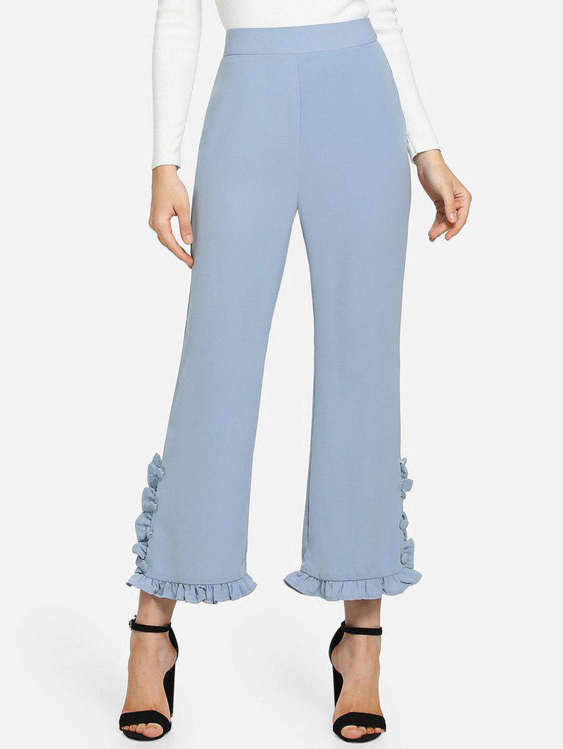 Chic High Waisted Ruffle Ninth Pants