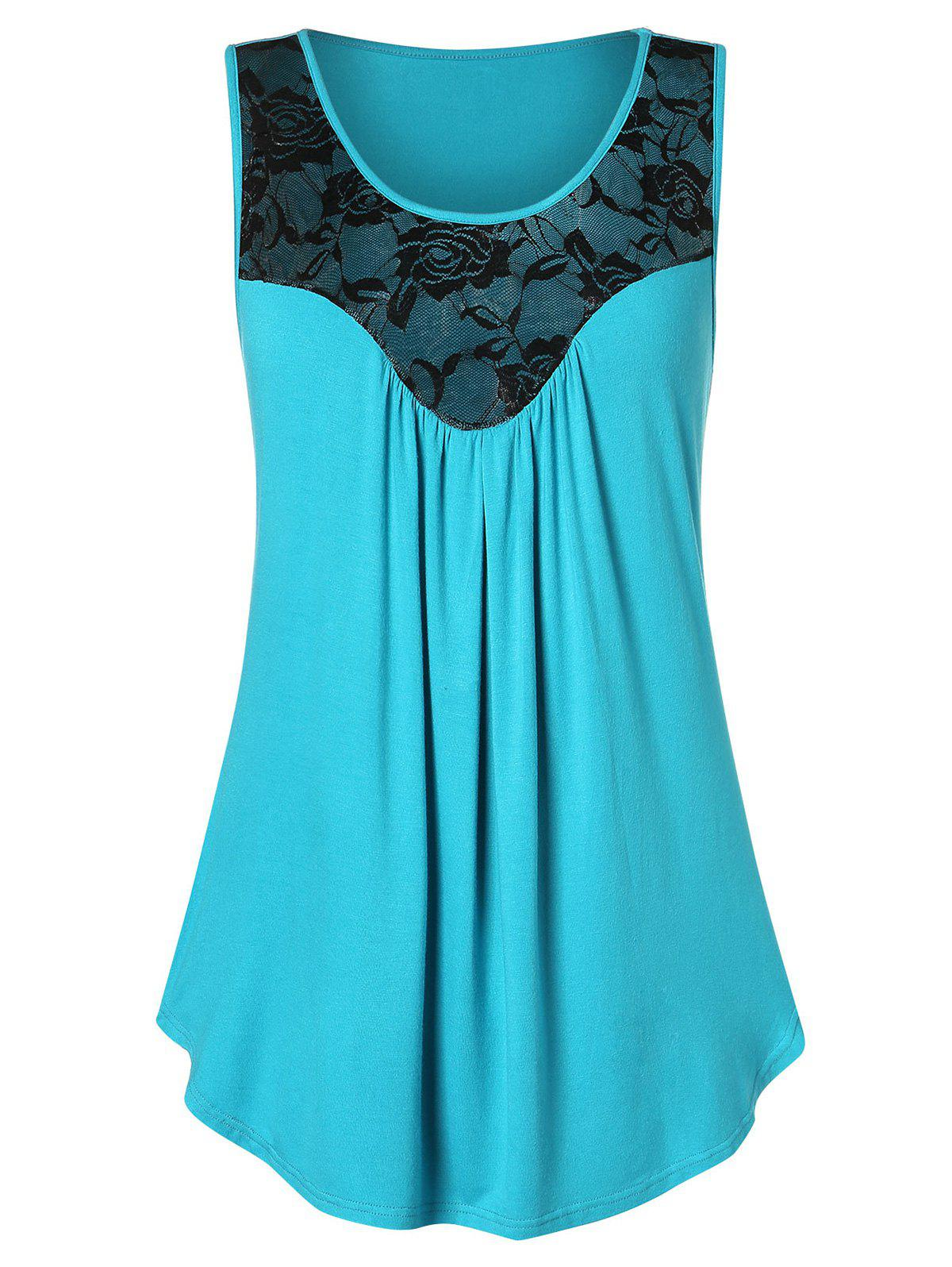 Cheap Floral Lace Two Tone Tank Top