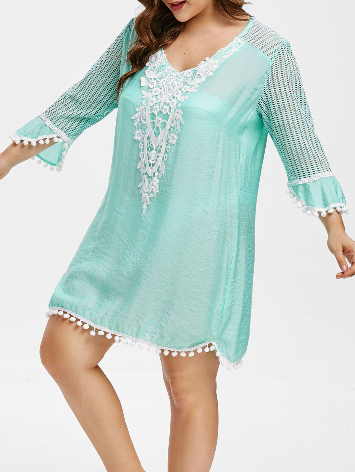 Cheap Openwork Plus Size Lace Panel Cover Up