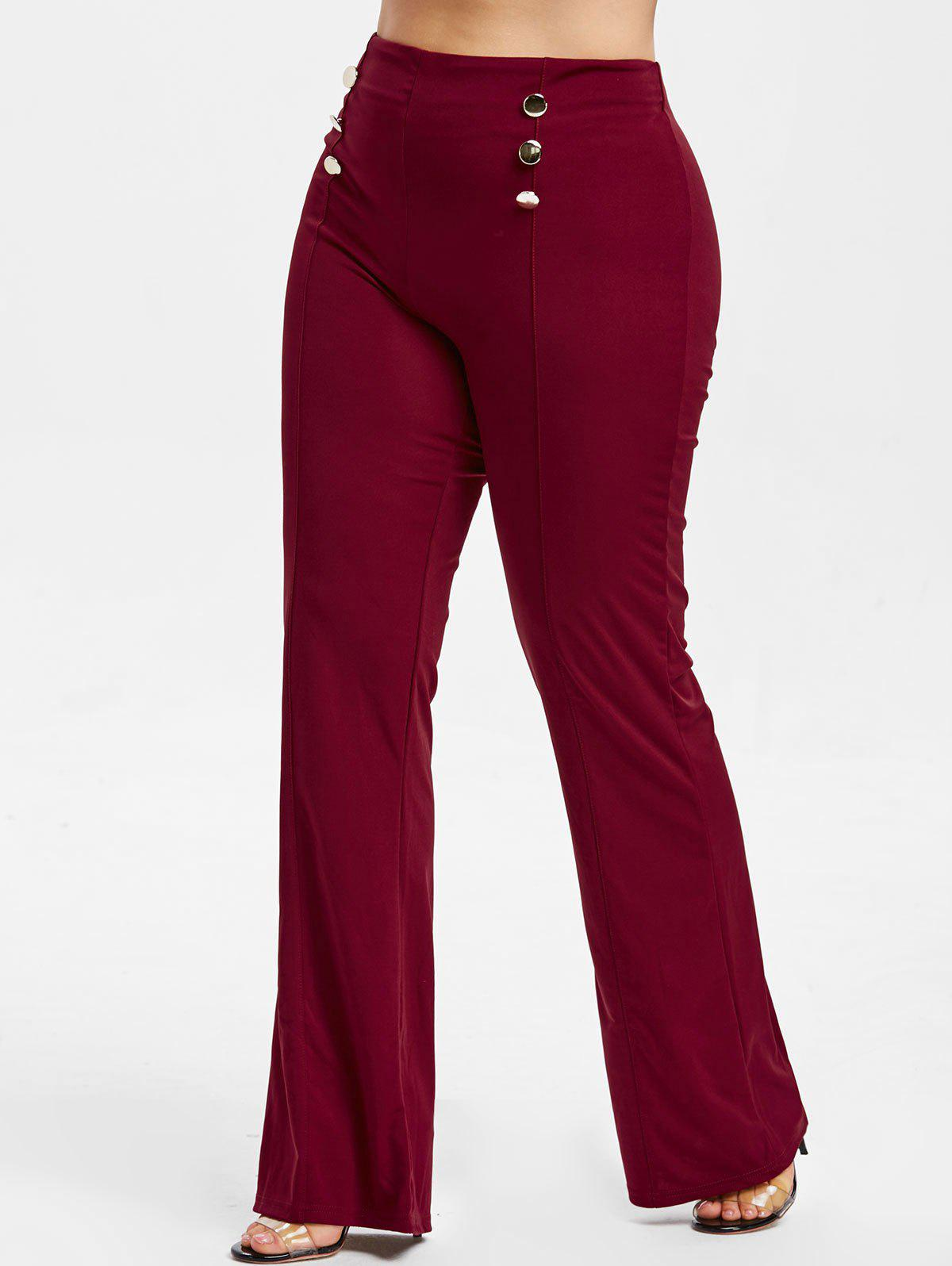 Best Button Embellished Plus Size Bootcut Pants