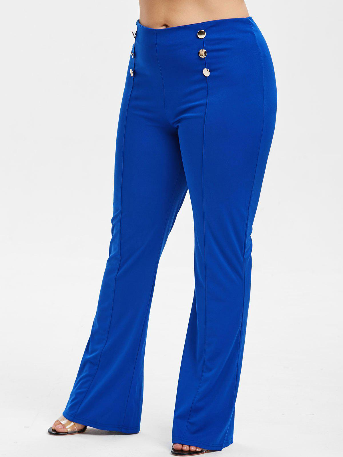 Chic Button Embellished Plus Size Bootcut Pants