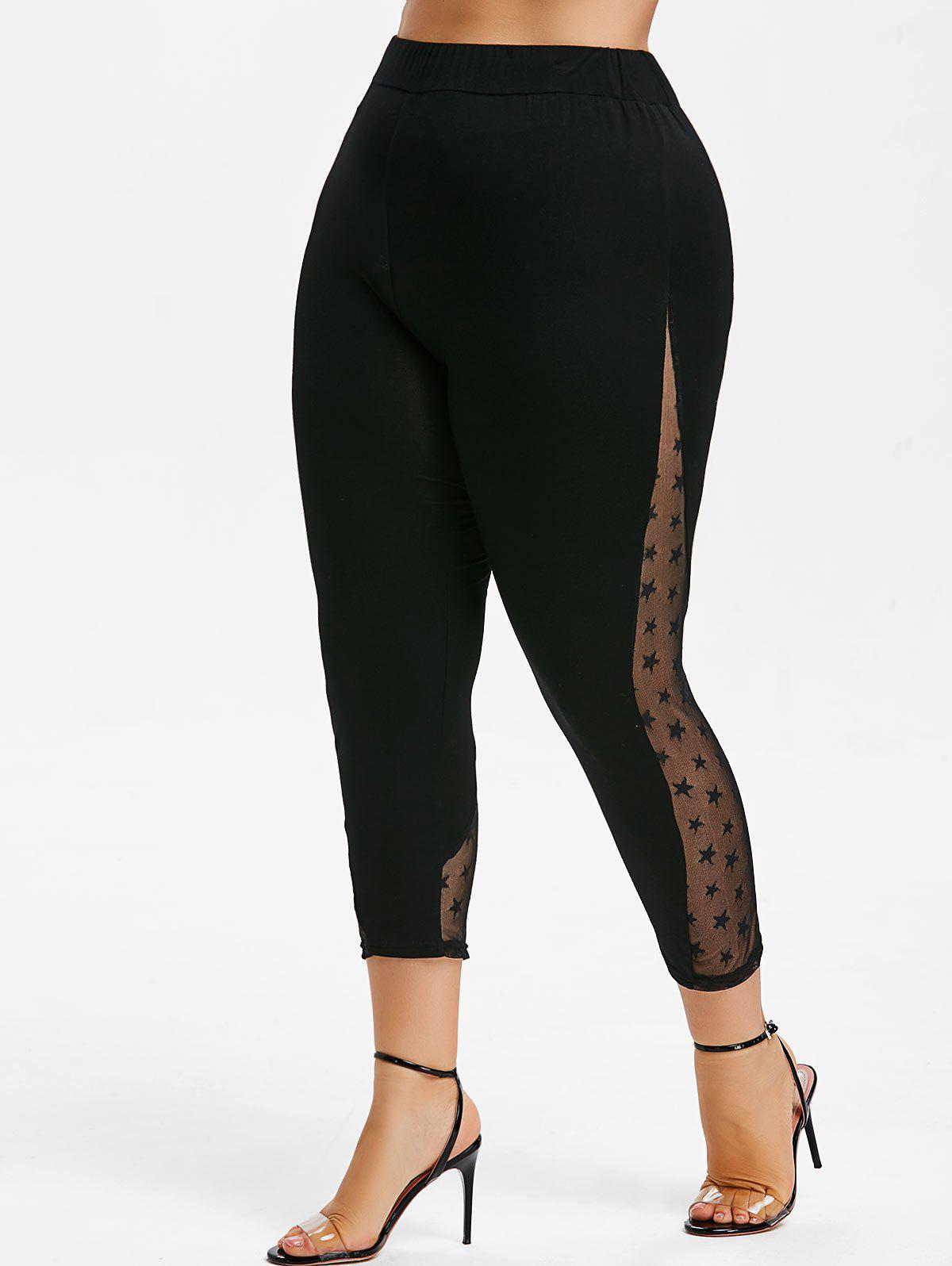 Discount Star Lace Panel Plus Size Capri Leggings