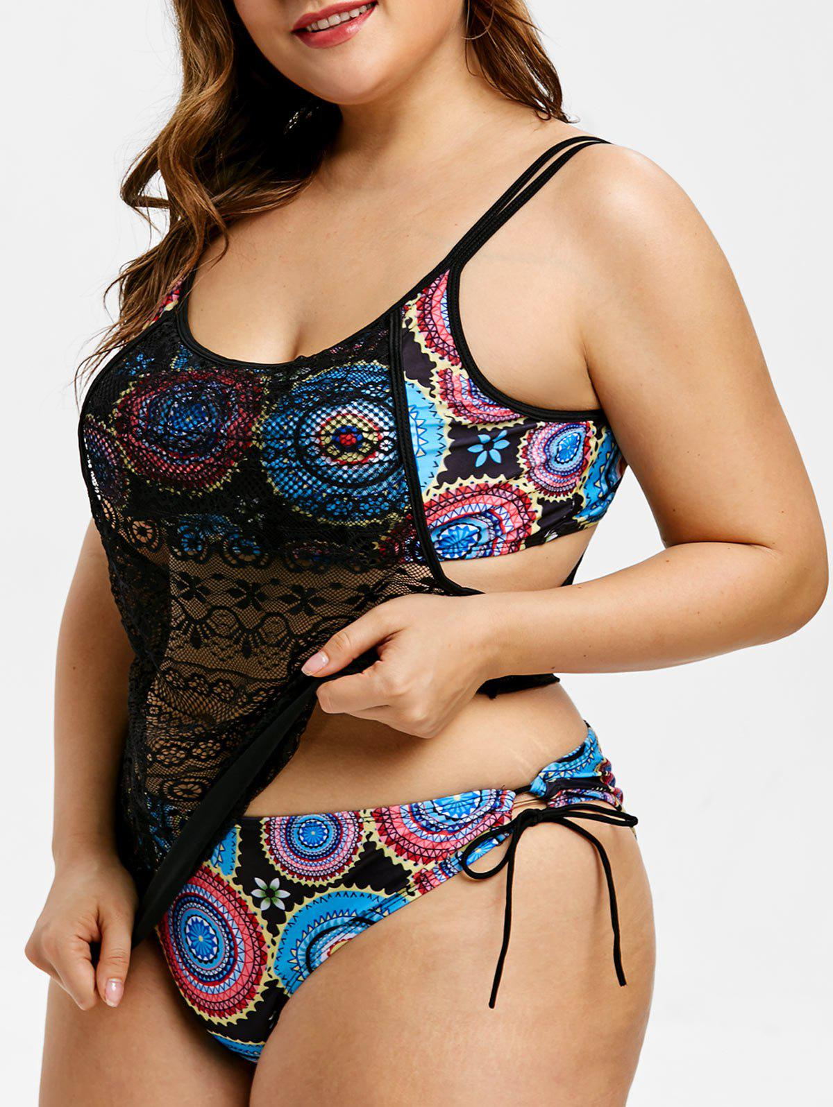 Discount Lace Panel Plus Size Printed Tankini Set