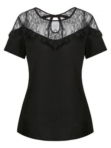 Frilled Lace Panel Sheer Blouse